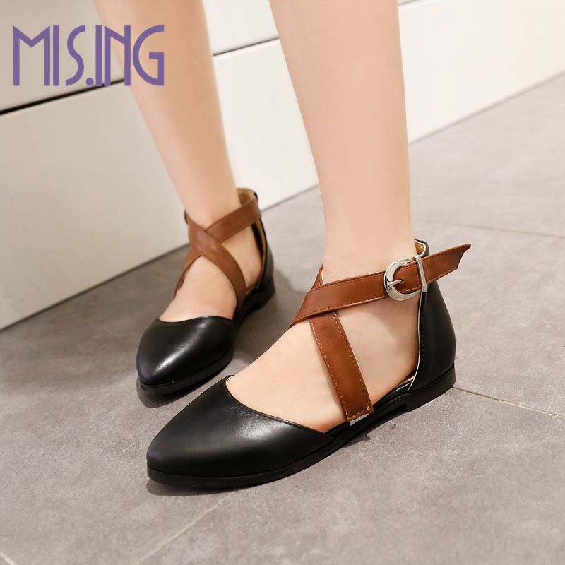 New arrivals women shoes fashion Point Toe Soft  Leather Buckle Strap Flats sandals Cover heel Casual Cross straps lady shoes<br><br>Aliexpress