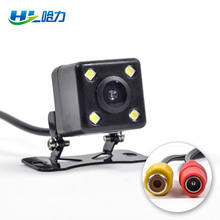 HL CCD 4 LED Car Rear View Camera with Glass lens 120 Degree Wide Angle Reversing Camera for Car Monitor Small Square(China)