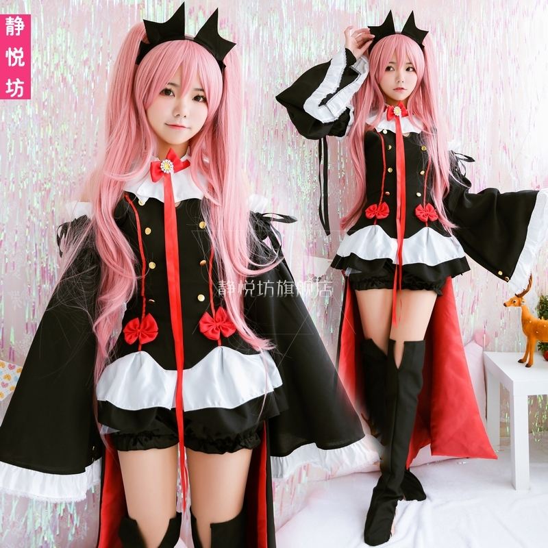 Anime Seraph of the end COSPLAY Krul Tepes COS Halloween Party COS Goth Vampire Lolita Costumes Sets Free shipping