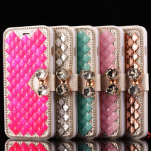 Elegant Bling Leather Mobile Phone Bag For Apple iPhone 6 Case 6S 6Plus 6Splus Dirt-resistant Stand Square Rhinestone Flip Cover