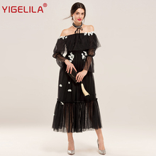 YIGELILA Brand 62293 Latest New Women Handmade Custom Sexy Slash Neck Off Shoulder Black Long Dress(China)