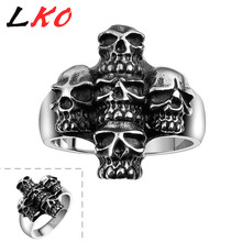 LKO Men's Ring 1 PC Skull Cross Fashion Punk 316L Stainless Steel Cool Party Gift For Boyfriend US Size 8/9/10/11
