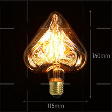 Heart shape bulb Tungsten Edison light bulb Star Love special decoration Retro light bulb light source 220V e27 base