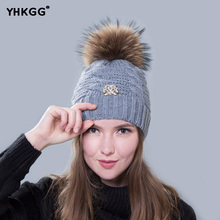 2017  winter hat fur ball knitted warm hats for women.Skullies Beanies Fur Pom Poms.Pretty classic knit cap lines