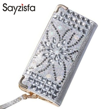 Sayzisfa New Luxury Women Clutch wallets Ladies Fashion Grace Day clutches bag Wedding Party Dinner bags Evening Bag SilverT445(China)