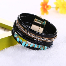 Buy 2016 New Arrivals Multilayer Wide Leather Bangles & Bracelets Fashion Natural stone Leather Chain Rhinestone Bracelets Women for $1.50 in AliExpress store