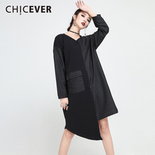 Buy CHICEVER 2018 Spring Asymmetrical Women Dress Patchwork Striped Loose Big Size Pullovers Dresses Female Clothes Fashion Casual for $20.39 in AliExpress store