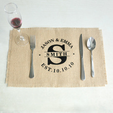Personalized Wedding Burlap Placemats Rectangle Placemats Table Mats Rustic Wedding Gift 45*30cm Set of 4 or 6 or 8