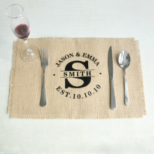 Personalized Wedding Burlap Placemats Rectangle Placemats Table Mats Rustic Wedding Gift 45*30cm Set of 4 or 6 or 8(China)