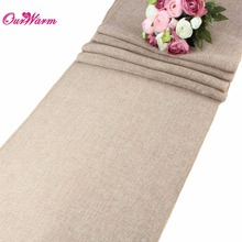 10pcs Khaki/Gray Natural Jute Table Runner for Wedding Party Table Decoration Solid Tablecloth Imitated Linen Rustic Home Decor