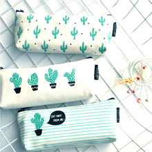 Cactus Pencil Case Canvas School Stationery Supplies Kawaii Chancery Student Kids Cute Small Pencil Box Penalty(China)