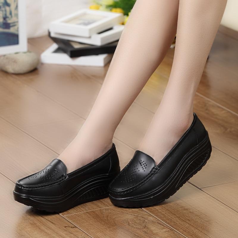 Platform Shoes Women Pumps Lady casual wedges Genuine Leather shoes fashion Platform Shoes Women Pumps nurse swing Black white<br><br>Aliexpress