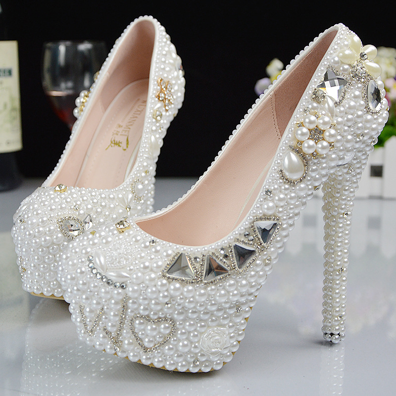 2017 New Platform Beautiful Pearl Lace White Wedding Shoes Women Pumps Party Dance Sexy High-Heeled Shoes 9/11/14 cm  size 34-42<br><br>Aliexpress