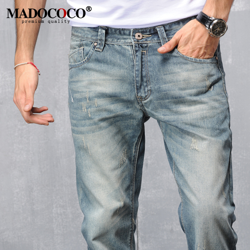2017 Brand New Cotton Retro Mens Robin Jeans High Quality Light Blue Designer Vintage Jeans Man Wild Straight Loose Jeans BikerÎäåæäà è àêñåññóàðû<br><br>