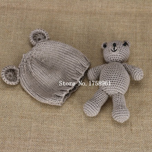 Hand Crochet Knitted Baby Hat Teddy Bear Bonnet Photography/Photo Prop , newborn knitting hats 0-3 months animal hat