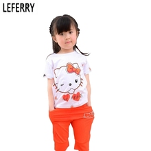 Summer Children Girls Clothing Sets Hello Kitty T-shirt + Shorts Kids Clothes Sets Baby Girl Summer Clothes Korean Fashion