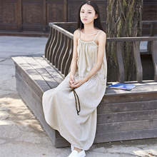 Johnature Women Spaghetti Strap Dress 2017 Summer New Casual Cotton Linen Fashion Women Clothes Pockets Loose Vintage Dresses