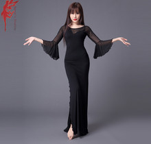 Women Elegant split dress girls fashion dress clothes long sleeves dresses belly dance dress dancer Practice clothing