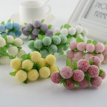 10pcs lovely Foam ball Artificial Flowers For home Wedding Decoration DIY Pompom Wreath Gift box Decorative toys Fake flowers(China)