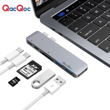 QacQoc GN28A Aluminium USB C Hub with 2 USB 3.0 Ports SD/MicroSD Type-C Charging port 40Gbps Thunderbolt only for Macbook Pro