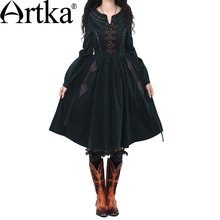 Artka Women'S Autumn Vintage O-Neck Lantern Sleeve Solid Embroidery Patchwork Expansion Bottom Cotton Dress L110152Q(China)