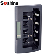 Soshine LCD Display Intelligent fast quick Charger for Ni-Mh NiMh AA AAA Rechargeable Battery 9V battery with 12V DC adapter