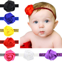 2017 Newly Design 1pcs Rose Flowers Headbands Baby Girls Children elastic bands Hair Accessories Drop Shipping H162