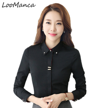 Buy Plus size 3XL business women long sleeve shirt black white slim cotton blouse fashion office ladies formal work wear tops for $12.18 in AliExpress store