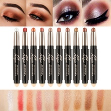 Make Up Eye Shadow Shimmer Pencils Double-end Waterproof Face Eye Brighten White Contour Eyeshadow Stick(China)