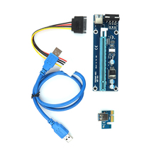 1PC PCIe PCI-E PCI Express Riser Card 1x to 16x USB 3.0 Data Cable 30/60CM SATA to 4Pin IDE Molex Power Supply for BTC Miner Mac