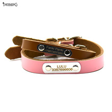 cow leather Genuine leather DIY dog collar tag customized name number pet collar tag free engraving puppy personalized collar(China)