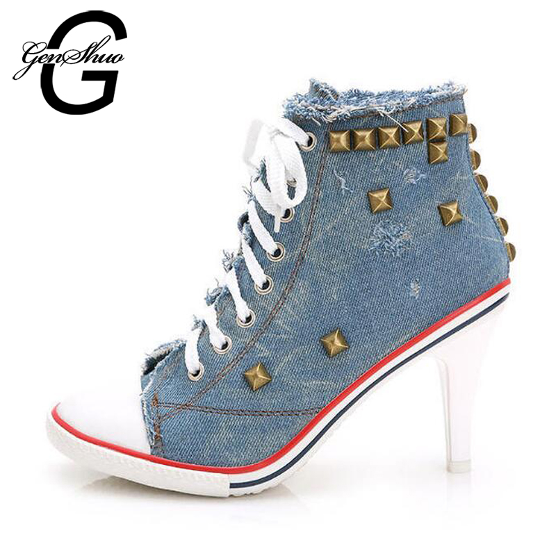 GENSHUO Fashion Womens Lace-up rivet shoes casual denim canvas Do old high-heeled shoes sexy Thin Heels Pumps<br>