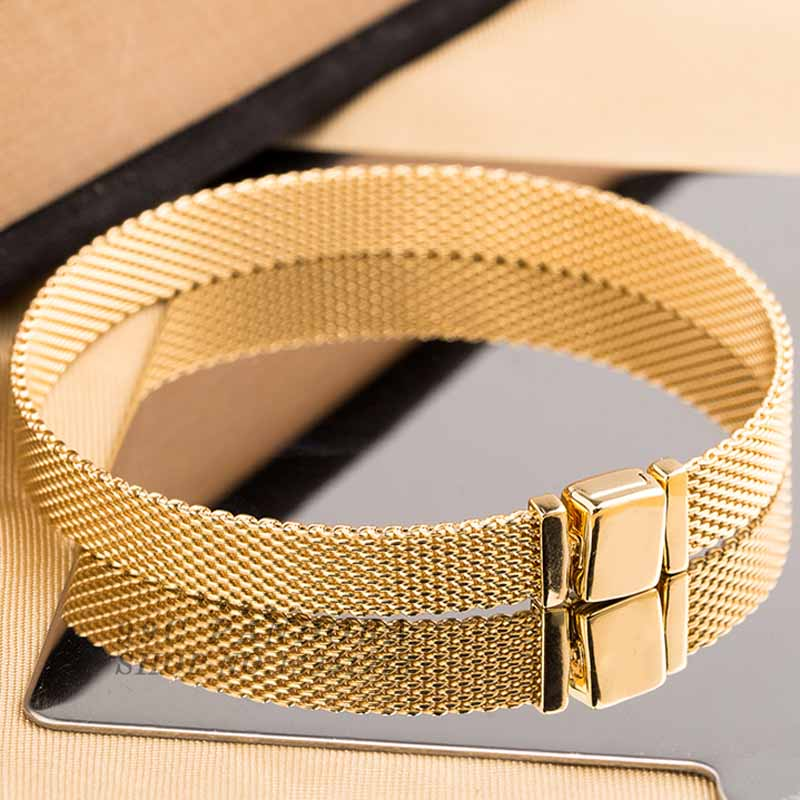 New 925 Sterling Silver Bracelet Gold Color Shine Woven Mesh Reflexions Bracelet Bangle Fit Women Bead Charm Pandora Diy Jewelry