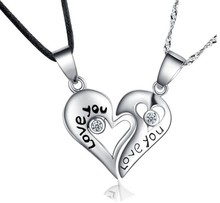 Colar fashion necklaces for women&men double chain 925 silver pendant heart accessories jewelry vintage statement necklacesN1102