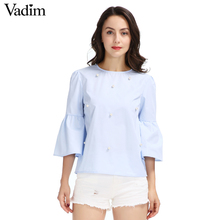 Women elegant pearls beading flare sleeve shirt O neck blouse three quarter sleeve summer brand casual tops blusas LT1799(China)