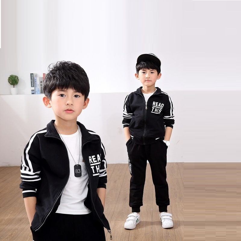 Caker Brand 2017 boys suit large child baby long sleeve sports two-piece children Korean thickening Letter Black SportsSuits<br>