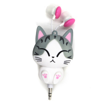 New Cat cartoon automatic retractable earphones for mobile phone cartoon earphones for Samsung HTC OPPO Xiaomi for IPhone 5s 6s