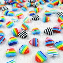 Wholesale 6colors Mixed 10mm Acrylic Half Flat Back Beads Heart Resin Beads DIY Scrapbook Craft 200pcs/lot H-72(China)