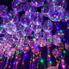 18/24 inch Clear Bubble Balloon With Led Strip Copper Wire Luminous Led Balloons For wedding Decorations birthday party Supplies(China)