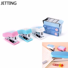Candy Color Kawaii Stapler Paper Office Accessories Mini Binder Stationary Set Mini Stapler 24/6 Plastic Stationery Set(China)