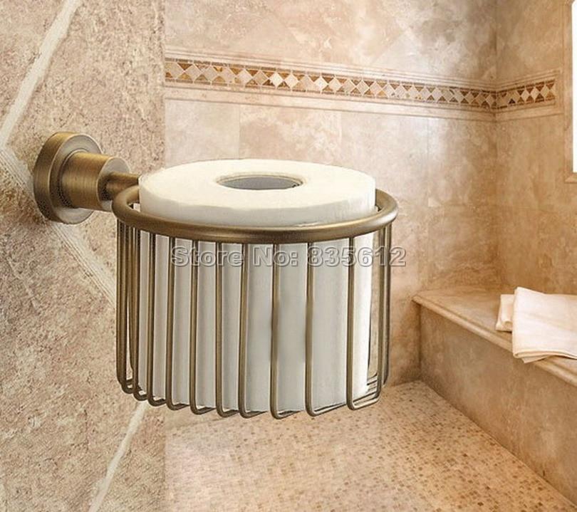 Antique Brass Bathroom Wall Mounted Toilet Paper Holder Roll Tissue Holder Basket Wba027<br><br>Aliexpress