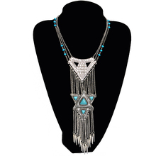 Fashion Bohemian Style Triangle Long Chain Tassel Necklace Ethnic Vintage Maxi nice Necklaces Women