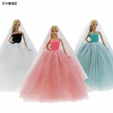 High Quality Lace Wedding Party Dress Sweetheart Chapel Long Tail Evening Gown Veil Clothes For Barbie Doll 1/6 Accessories Toy