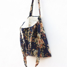 Brand New Original Cotton Linen Student Shoulder Messenger Bag 3 Straps Black or Navy Blue bottom Peony flower S114-116