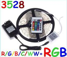 5M Waterproof LED STRIP 3528 IP65 cool white RGB LED Strip Light Lamp 300 Led SMD 3528 Remote Controller 12V 2A Power Transforme(China)