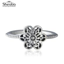 Shealia Floral Daisy Lace Rings For Women 925 Sterling-Silver-Jewelry Anel Brand Anillos Mujer Vintage Flower Engagement Ring