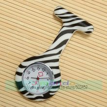 100pcs/lot zebra design medical watch leopard print nurse watch wholesale quartz sexy lady watch in hospital silicone watch(China)