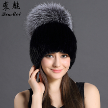 Thicken Knitting Hat Solid lined Elastic Russian Beanie With Luxury Fox Fur Pompon Cap Women Winter Real Mink Fur Beanie Hats