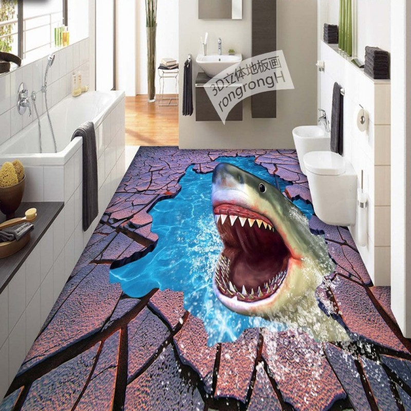 Free Shipping Sea World Shark Crack 3D floor painting thickened self-adhesive living room bathroom bedroom flooring mural<br>
