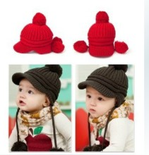 Fashion children hat winter beanie warm cotton baby knit peaked caps, 3 color, 0-4 years old baby, cap around 40-52 cm
